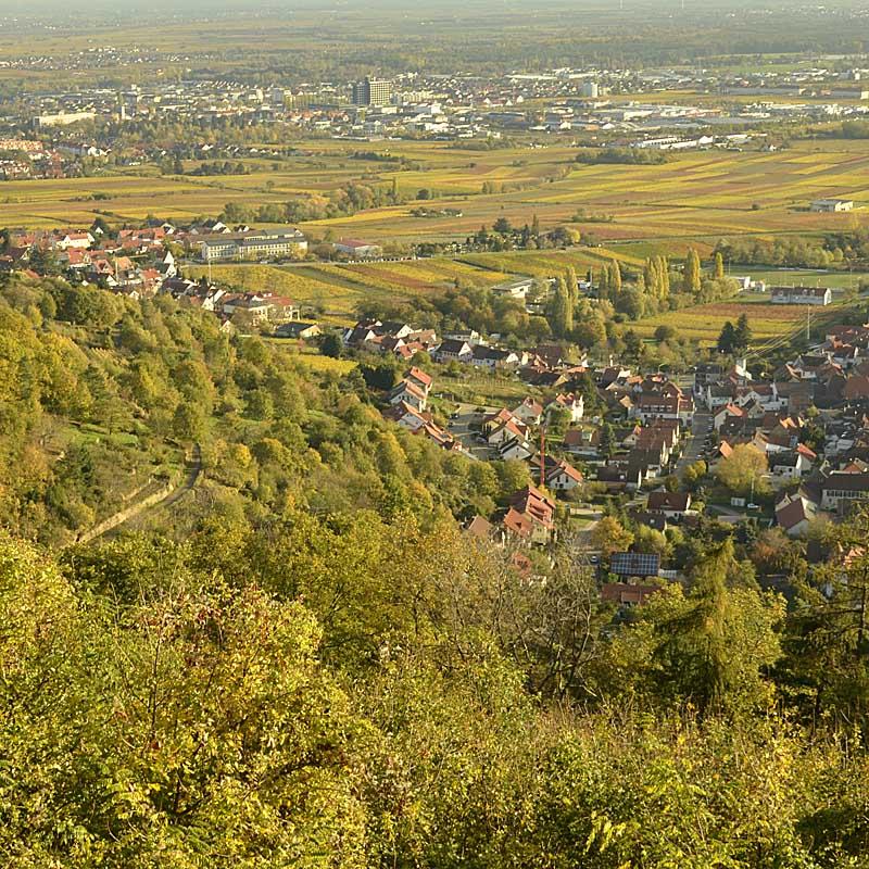 Blick vom Hambacher Schloss auf Hambach und Neustadt / Weinstraße